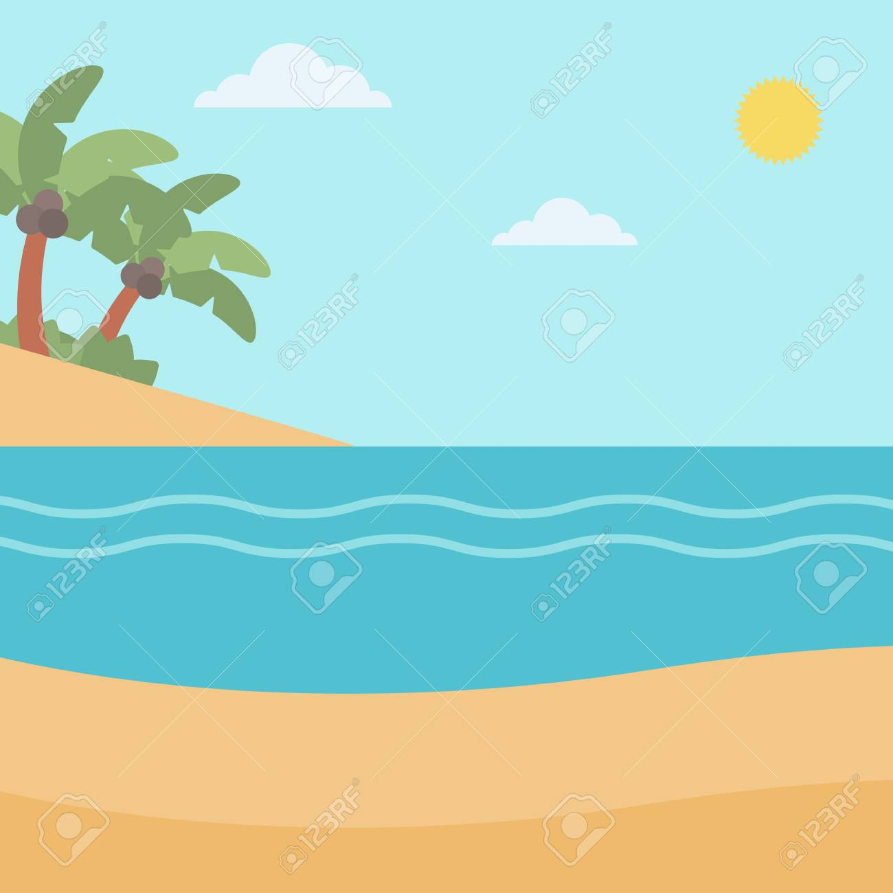 background of tropical beach with palm trees and the sea vector rh 123rf com sea vector free download sea vector free download