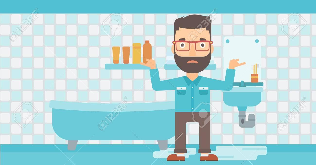 Salle De Bain Hipster ~ un homme hipster dans le d sespoir debout pr s fuite lavabo dans la