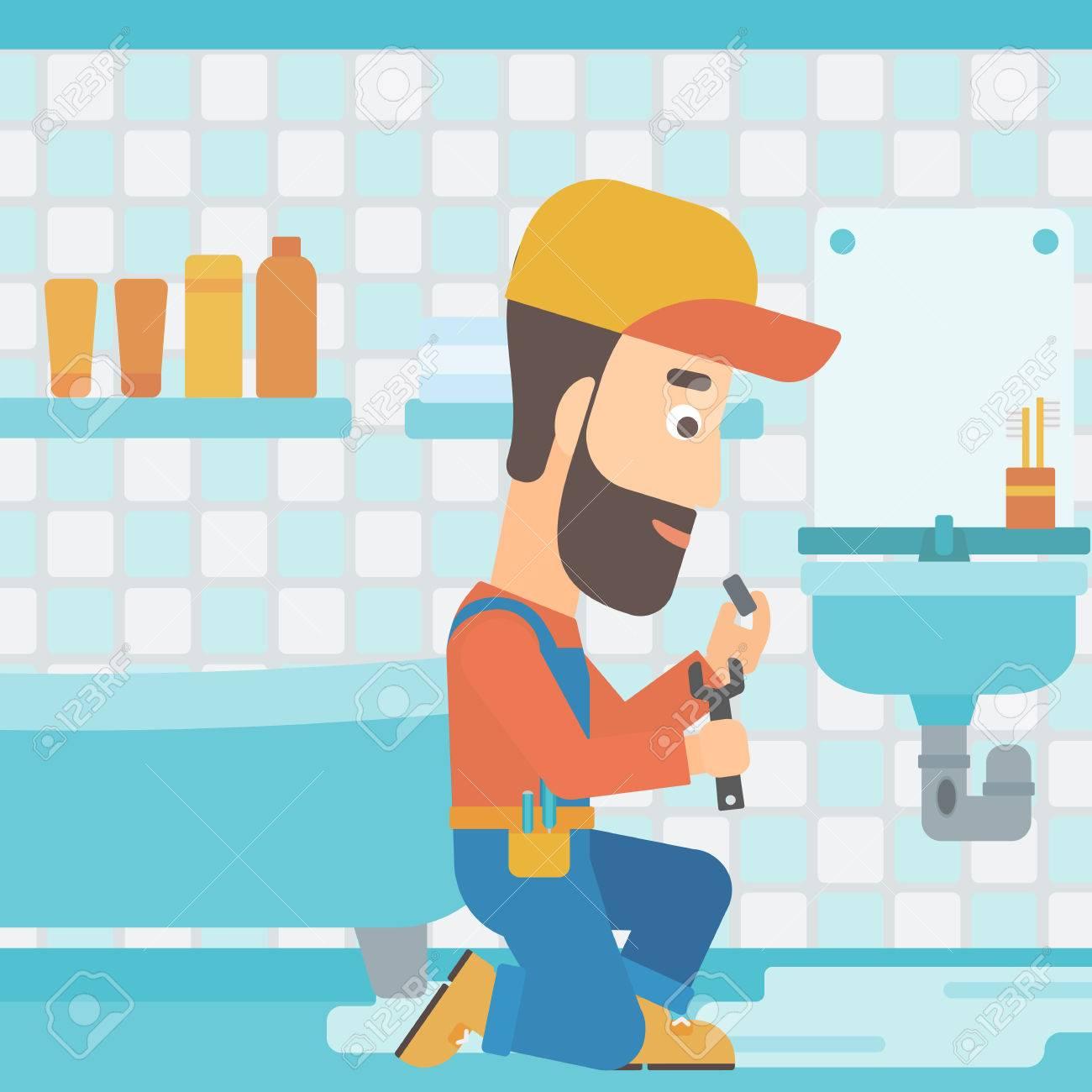 Salle De Bain Hipster ~ un homme de hipster avec la barbe assis dans une salle de bain et de