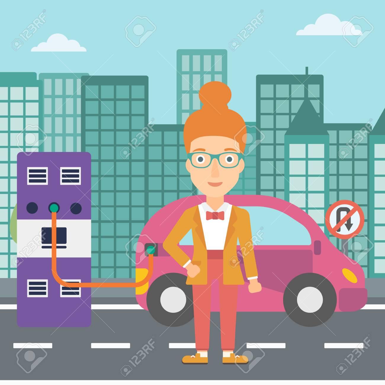 Eine Frau, Die Ihr Elektroauto Auf Einer Flachen Designillustration ...