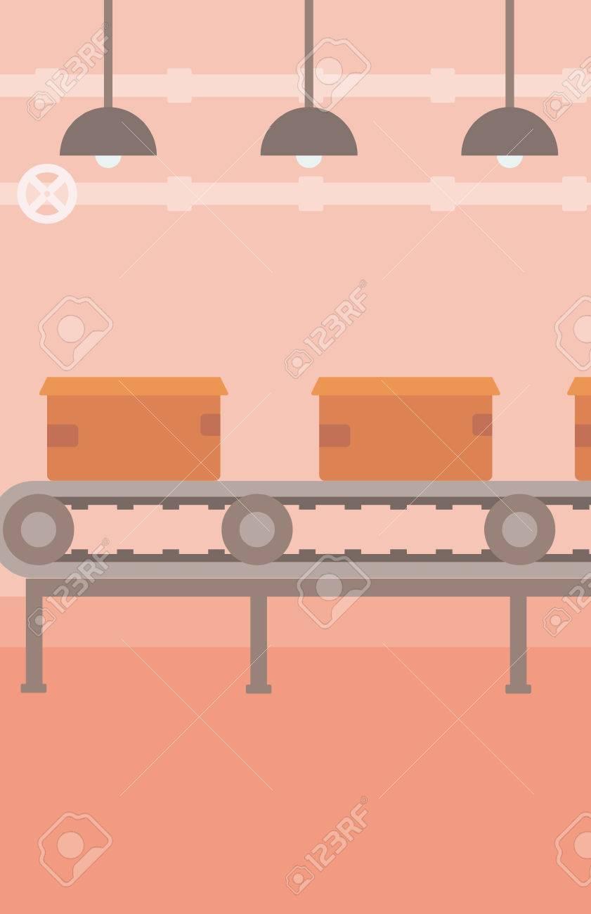 Fond De Tapis Roulant Avec Des Boites En Carton Vector Illustration