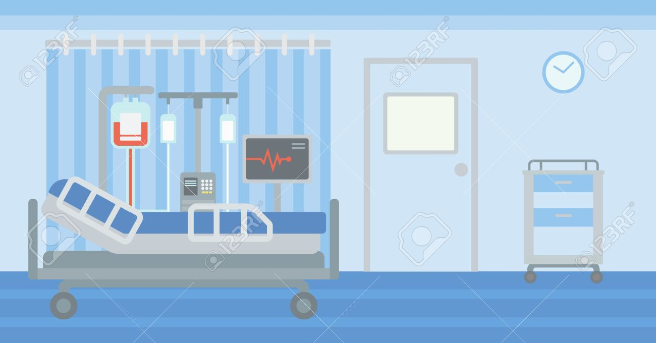 Background of hospital ward with bed and medical equipment vector flat design illustration. Horizontal layout. - 56145832