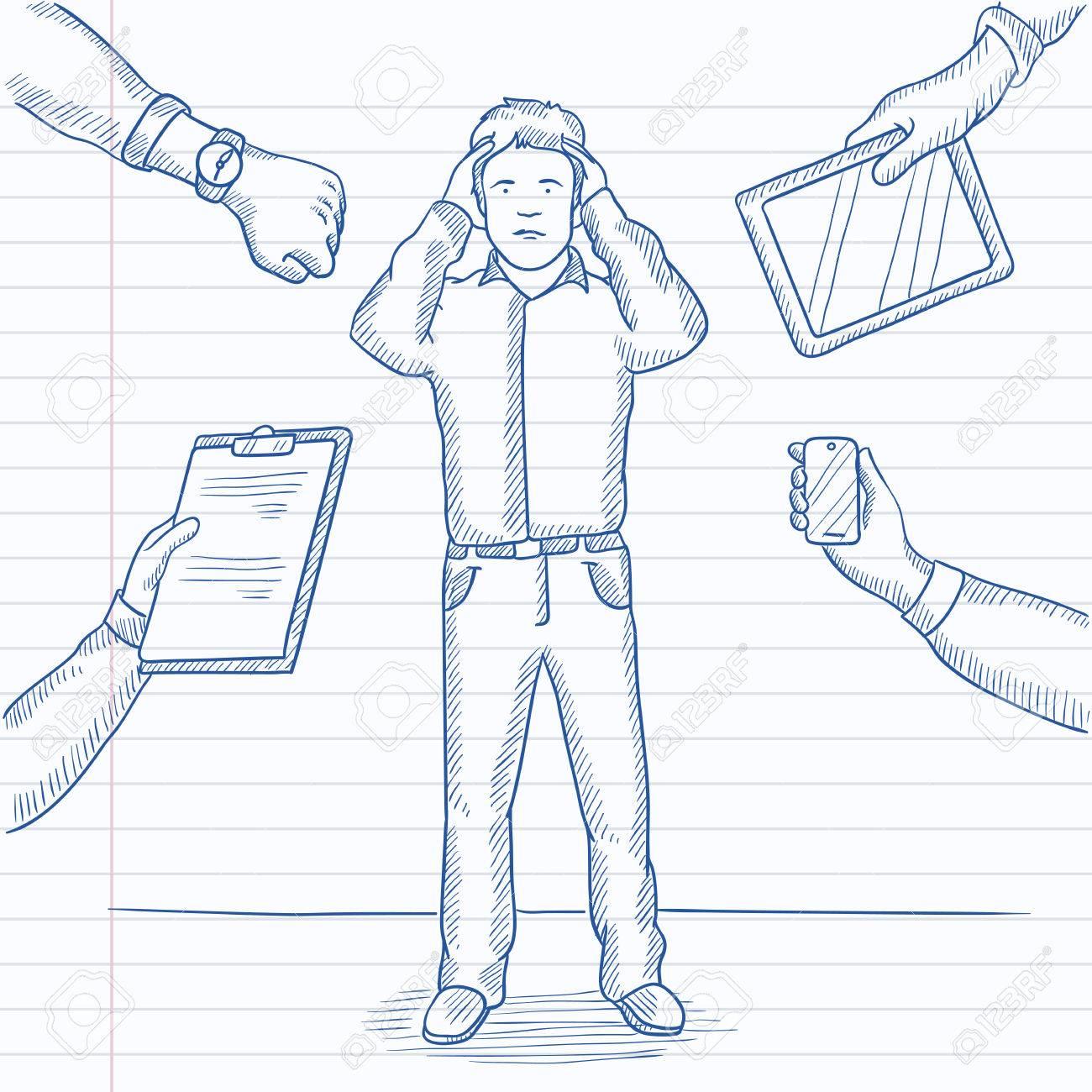 Armbanduhr gezeichnet  Ein Mann In Der Verzweiflung Umgeben Von Händen Mit Gadgets ...