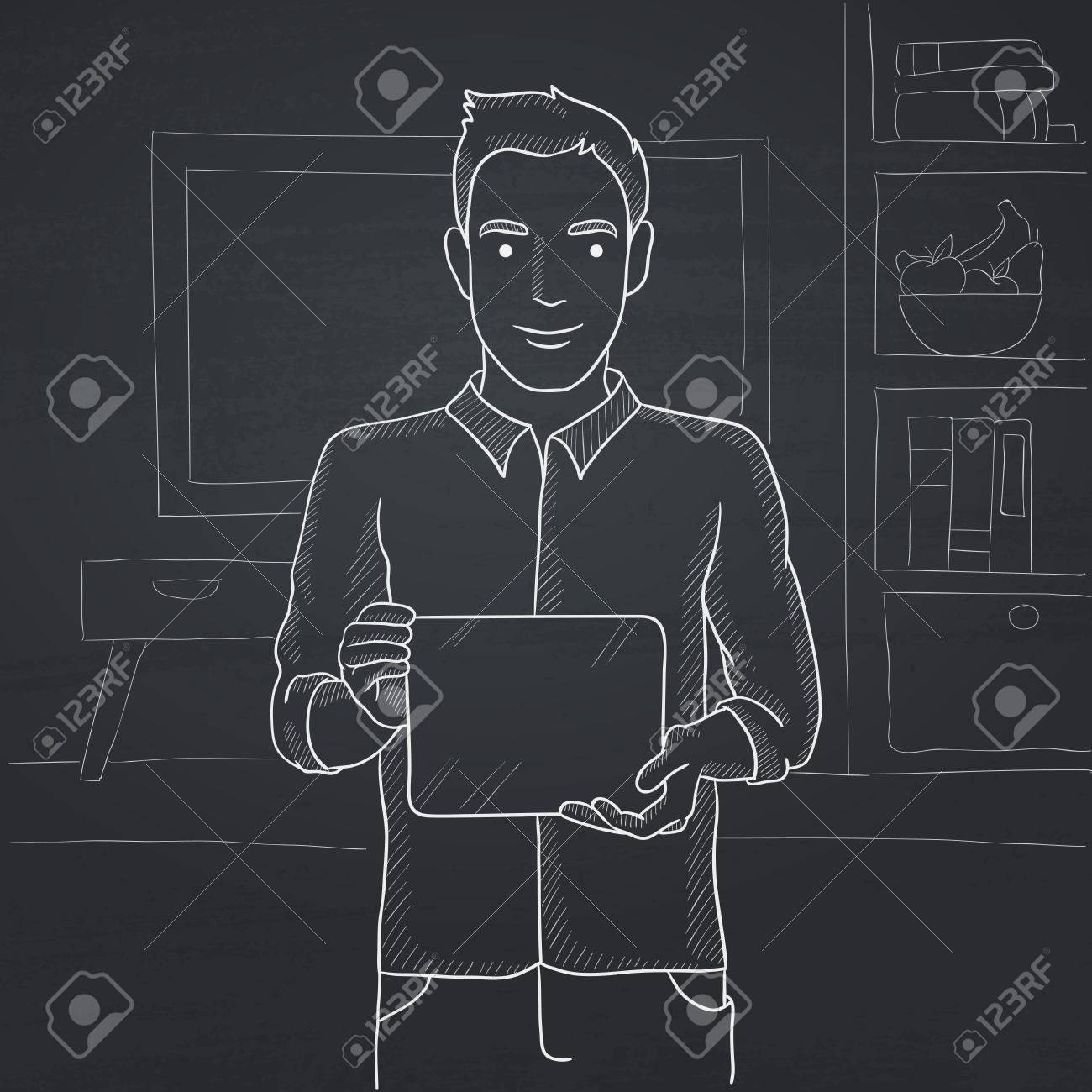Un Homme Tenant Un Ordinateur Tablette Dans Les Mains Sur Le Fond De ...