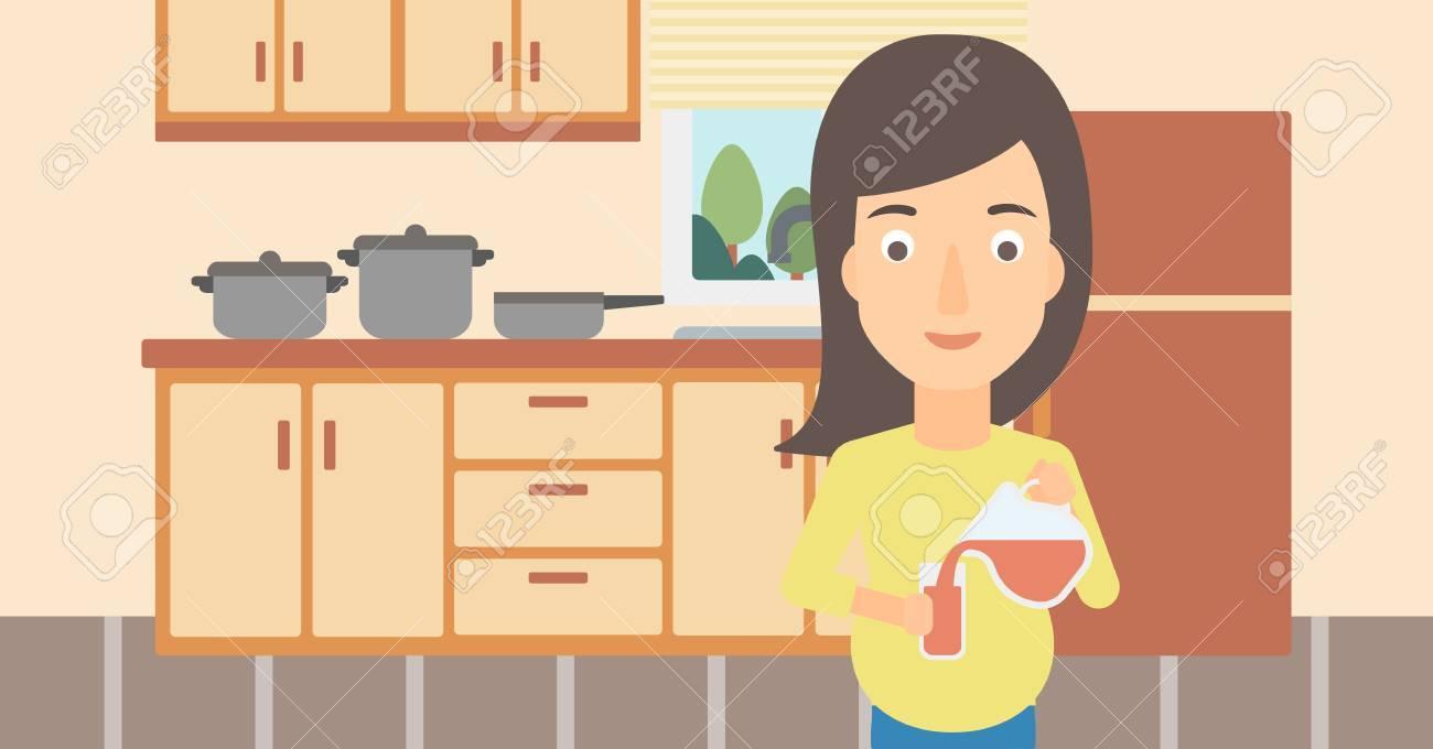 Una Mujer Embarazada Verter El Jugo En Un Vaso En El Fondo De La ...