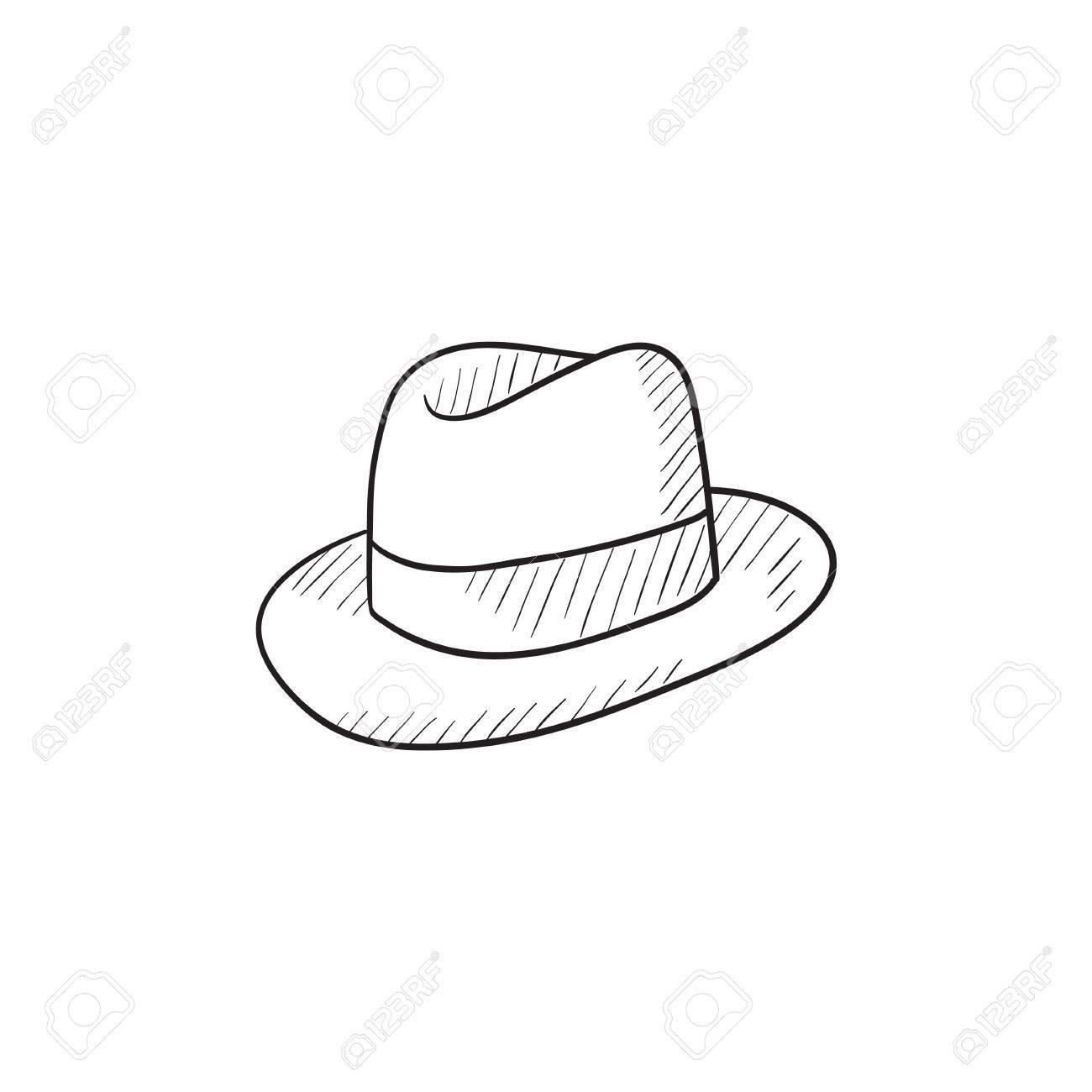 a349e21b32e Fedora Hat Sketch Icon For Web
