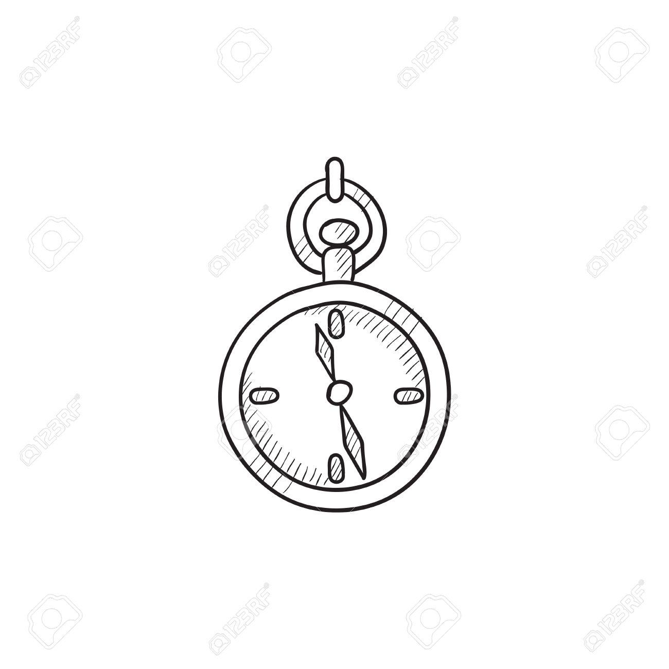 Taschenuhr gezeichnet  Taschenuhr Skizze Symbol Für Web, Mobile Und Infografiken. Hand ...