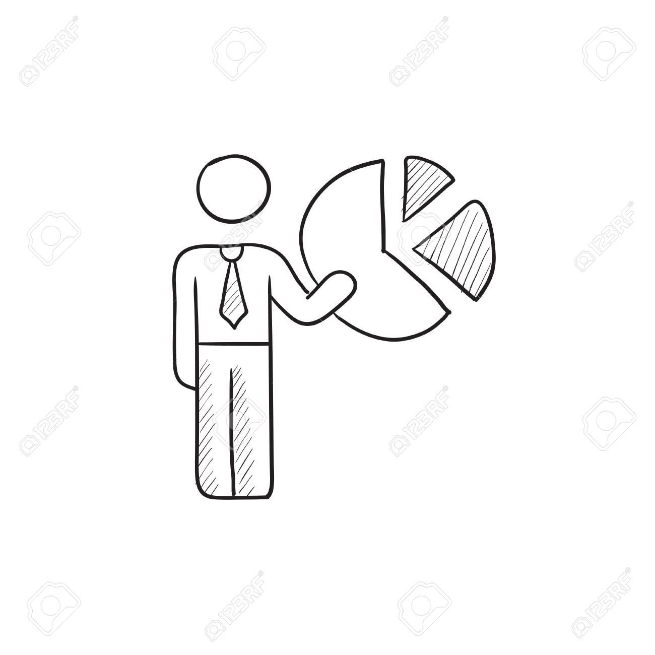Geschäftsmann Zeigte Auf Vektor-Skizze Symbol Kreisdiagramm Auf ...