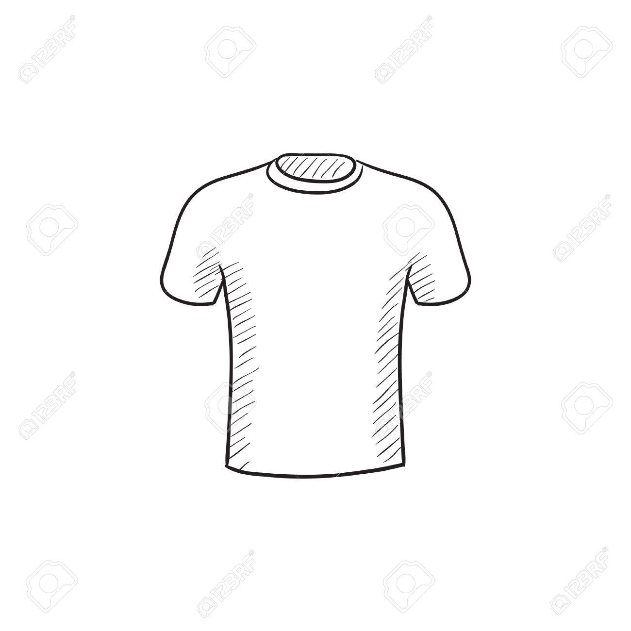 male t shirt vector sketch icon isolated on background hand