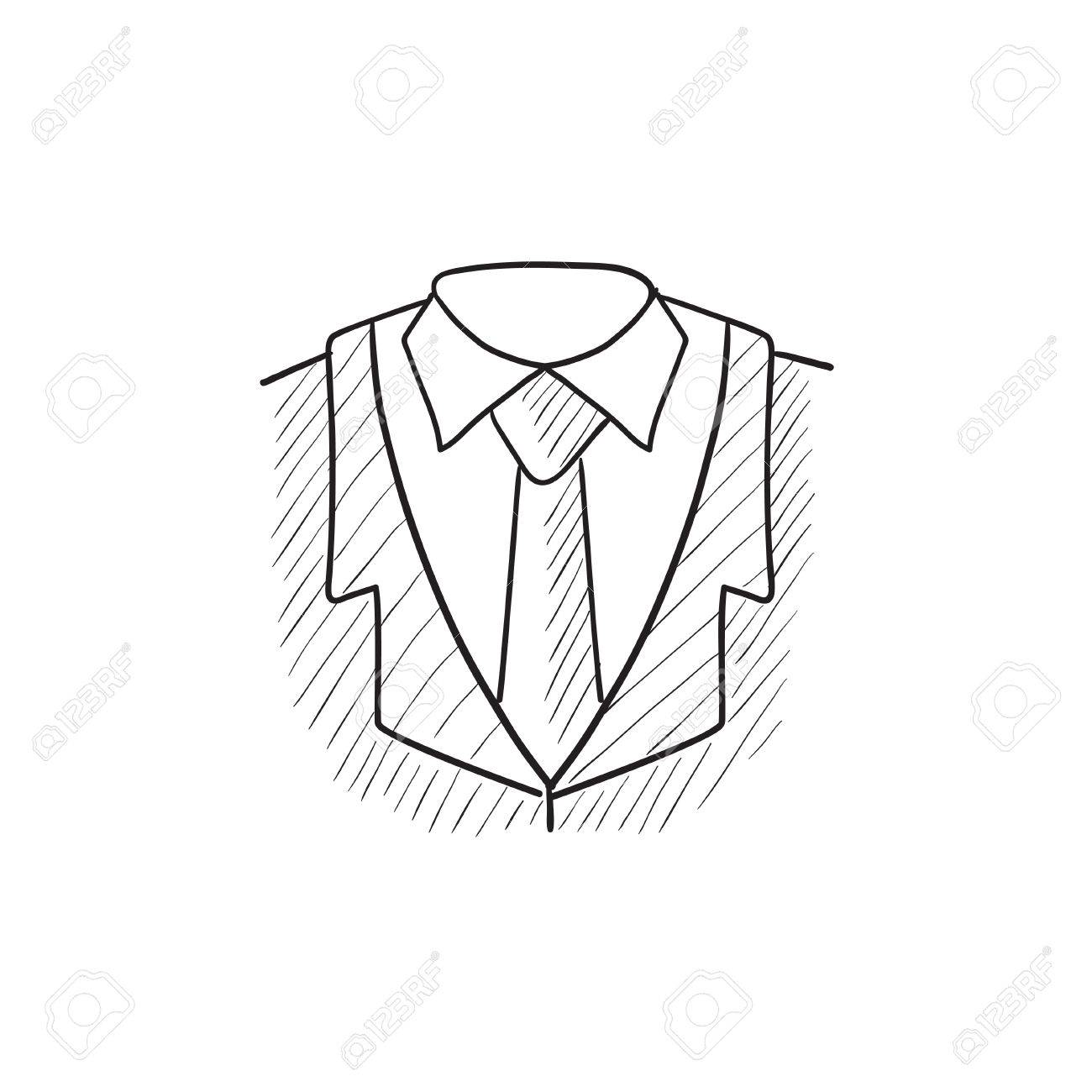 male suit vector sketch icon isolated on background hand drawn