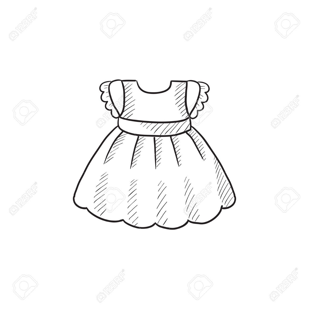 Bebé Dibujo Icono De Vestido Vector Aislado En El Fondo Dibujado A Mano Icono Del Vestido Del Bebé Icono De Boceto Del Vestido Del Bebé De