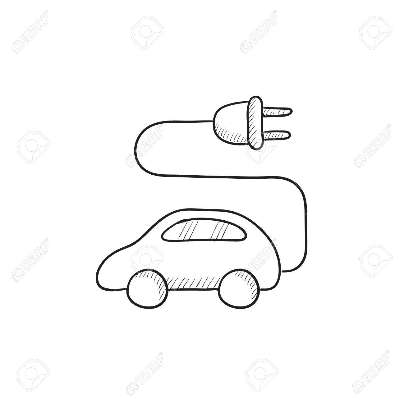 Electric Car Vector Sketch Icon Isolated On Background Hand