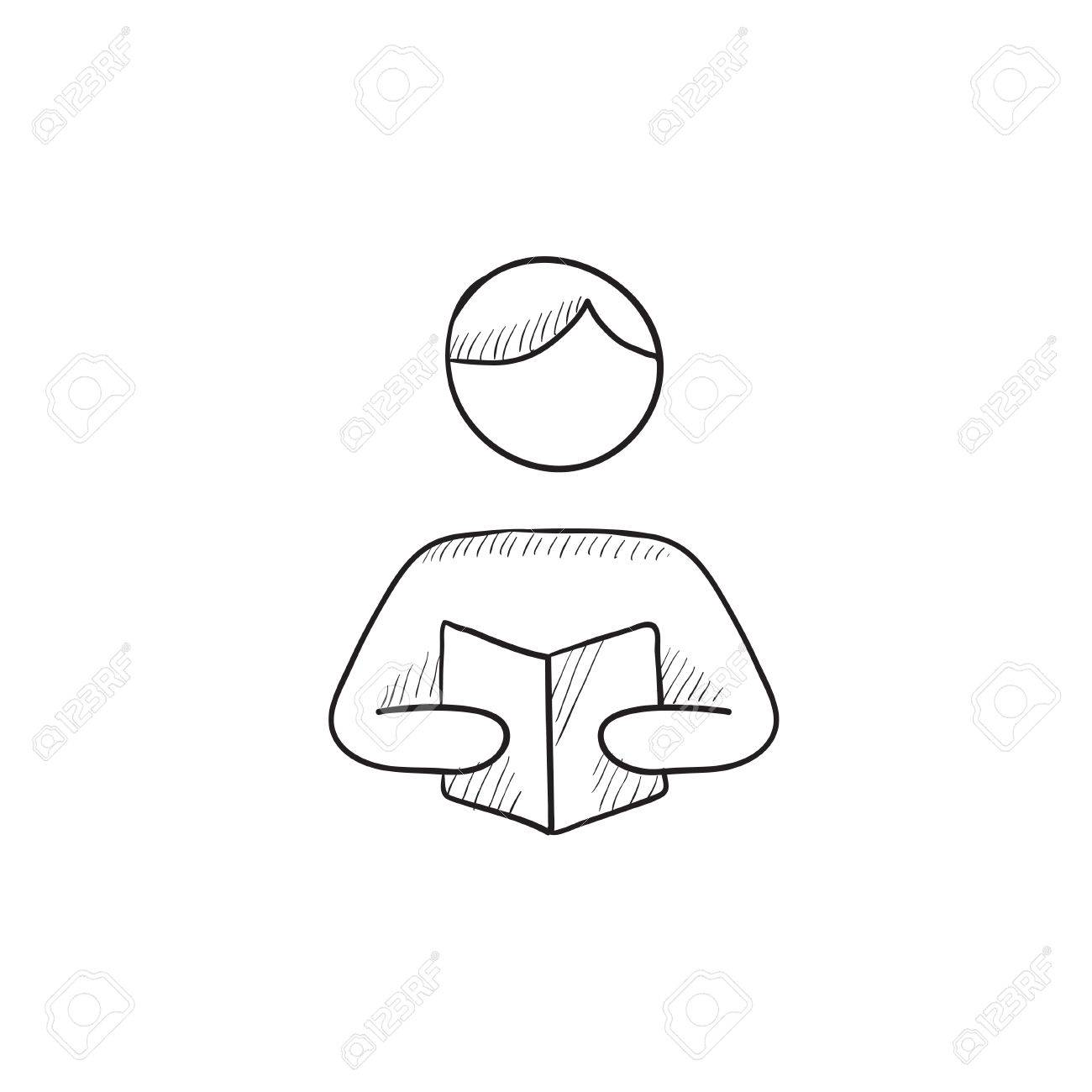 Man Reading Book Vector Sketch Icon Isolated On Background Hand