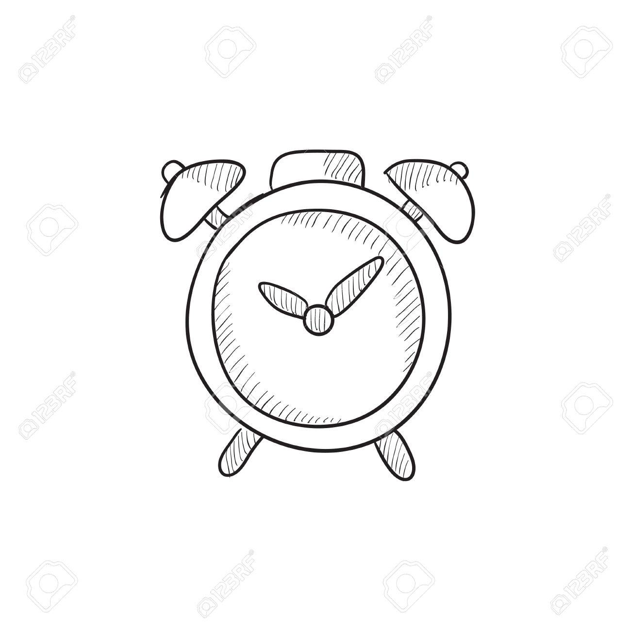 Alarm clock vector sketch icon isolated on background  Hand drawn