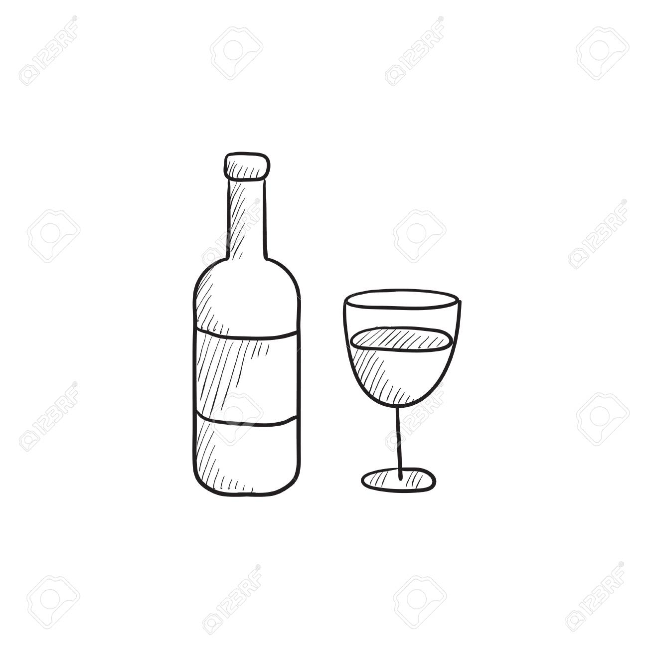 Bottle Wine Vector Sketch Icon Isolated Background Hand