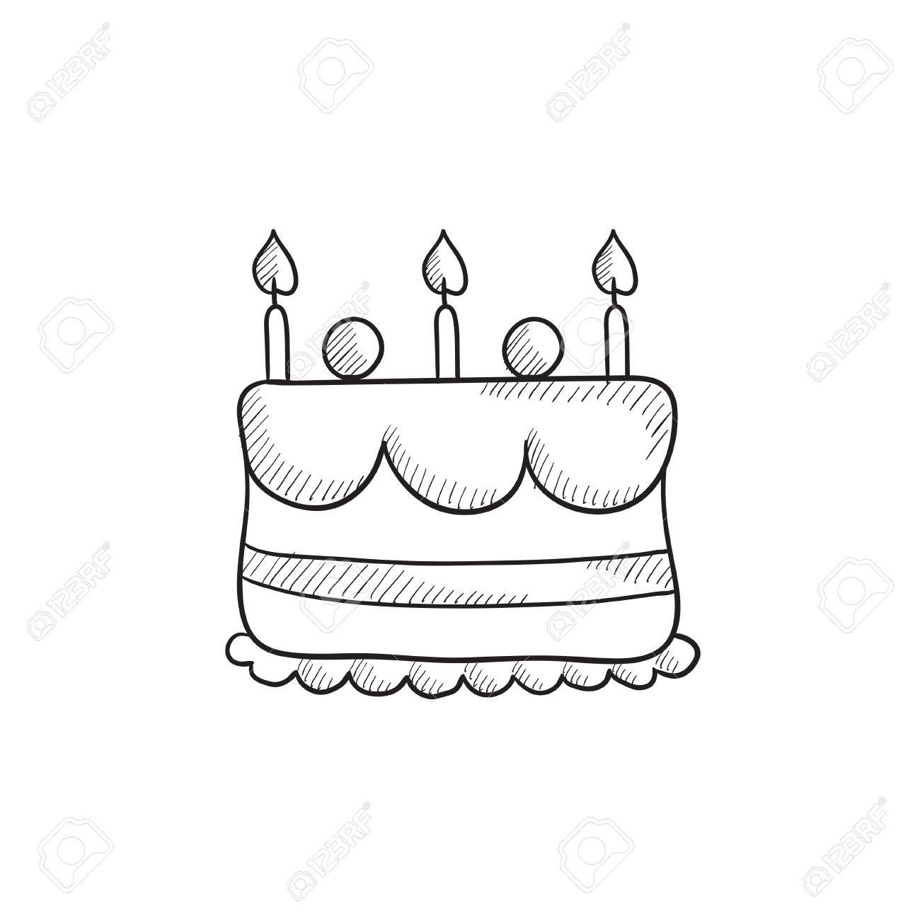 Birthday cake drawing vector images diagram writing sample ideas birthday cake with candles vector sketch icon isolated on birthday cake with candles vector sketch icon sciox Image collections