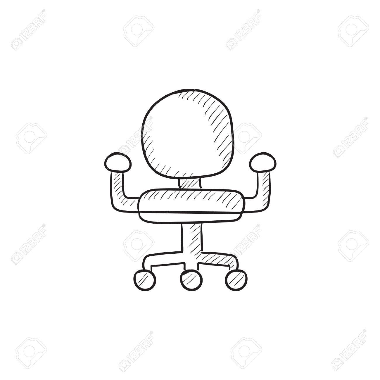 Sur Drawn InfographieSite Vecteur De Bureau Isolé Chaise IcôneEsquisse Croquis Pour FondHand Icône PkXuiTZO
