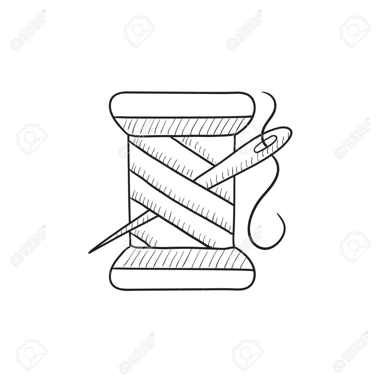 La Bobine De Fil Et D Aiguille Vecteur Croquis Icône Isolé Sur Fond Hand Drawn Bobine De Fil Et De L Aiguille Icône La Bobine De Fil Et De