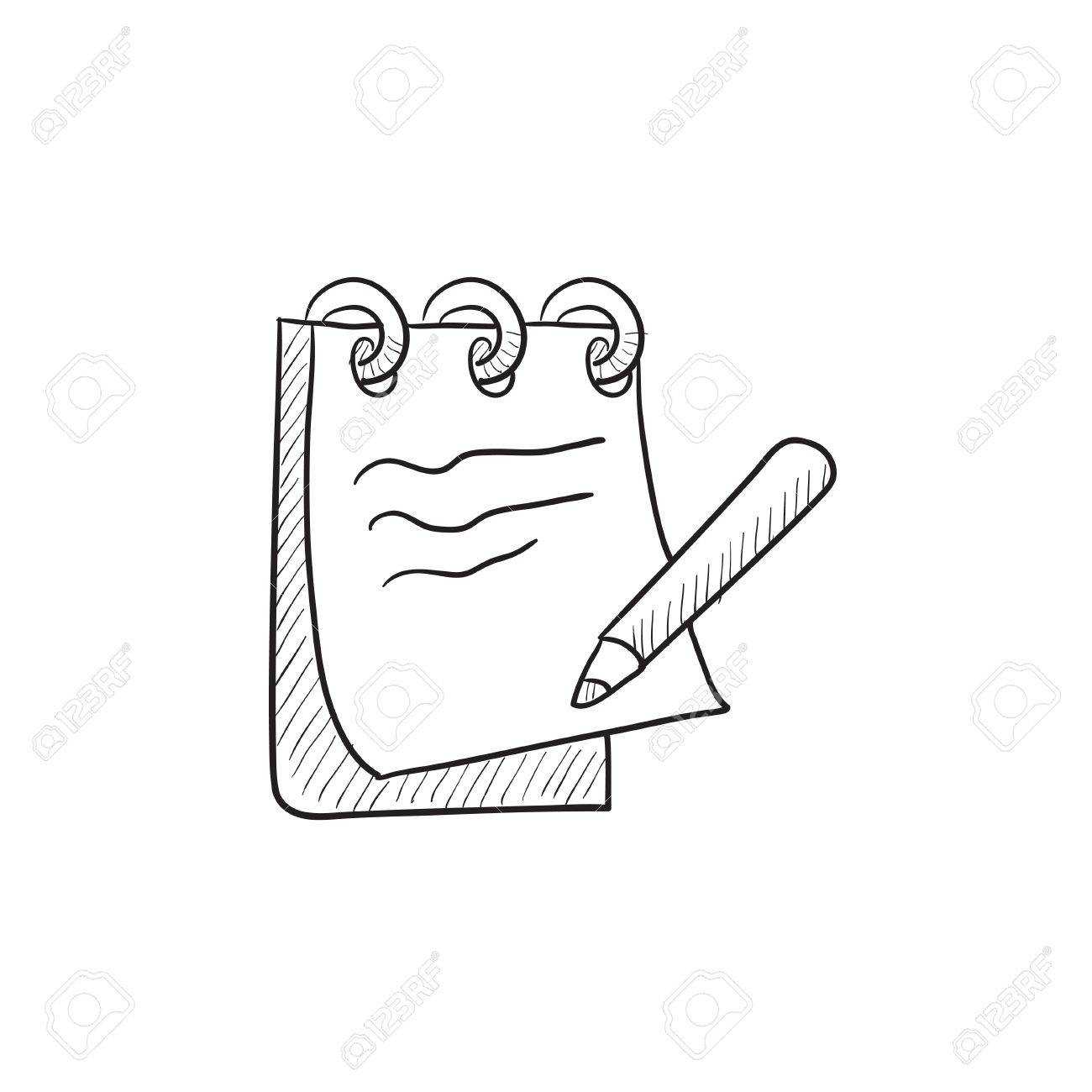 Notepad with pencil vector sketch icon isolated on background hand drawn notepad with pencil icon