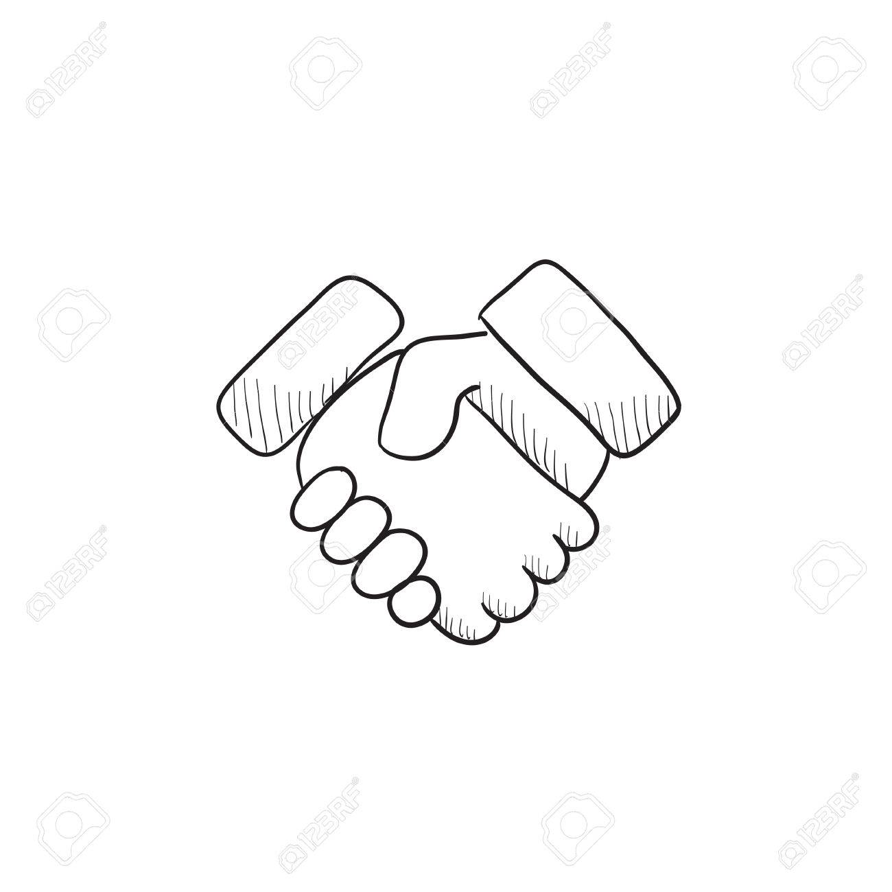 Handshake And Successful Real Estate Transaction Vector Sketch