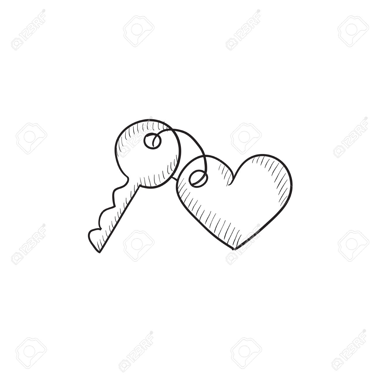Trinket For Keys As Heart Vector Sketch Icon Isolated On Background