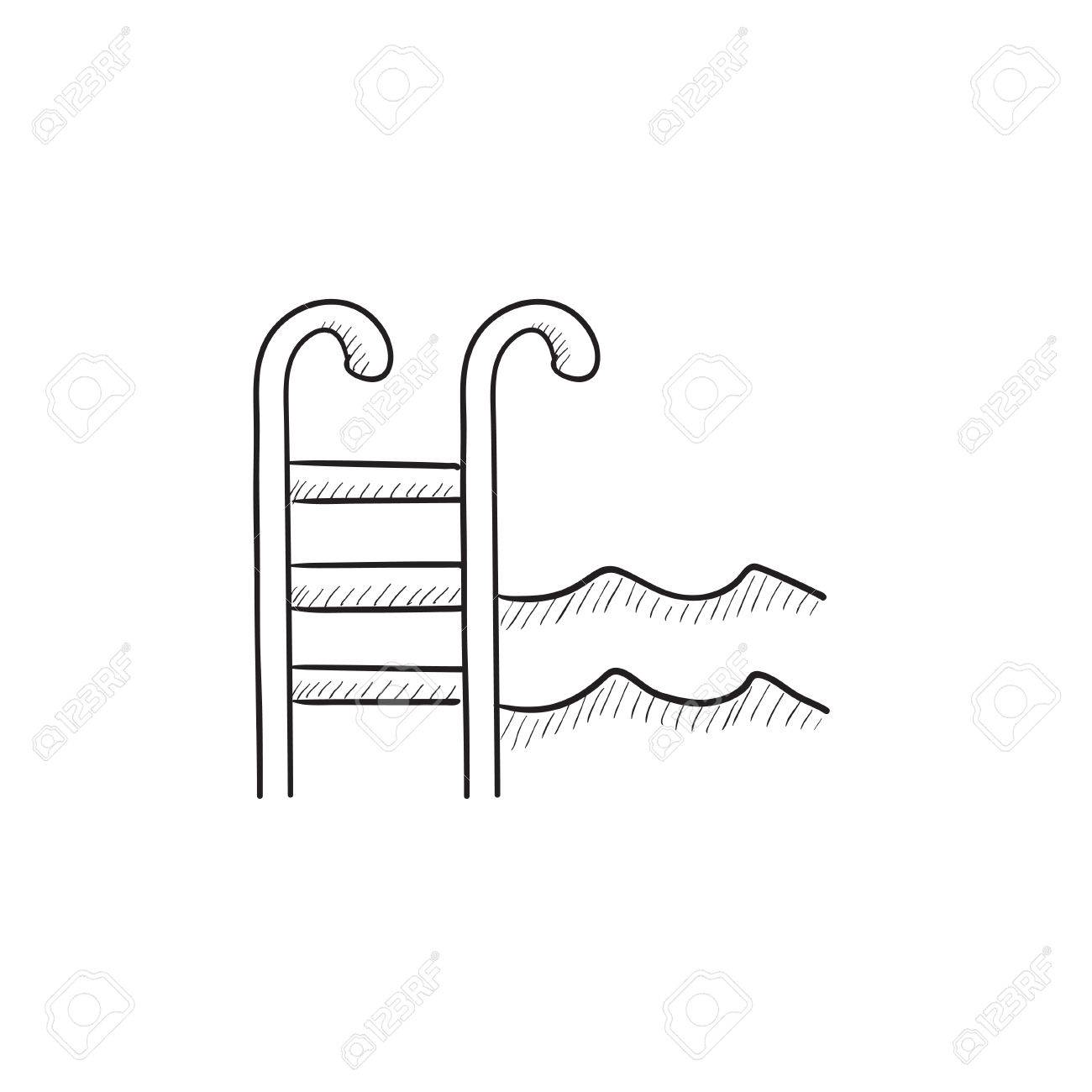 swimming pool with ladder vector sketch icon isolated on background