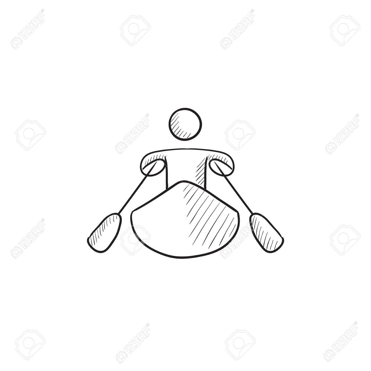 Man Kayaking Vector Sketch Icon Isolated On Background Hand Drawn