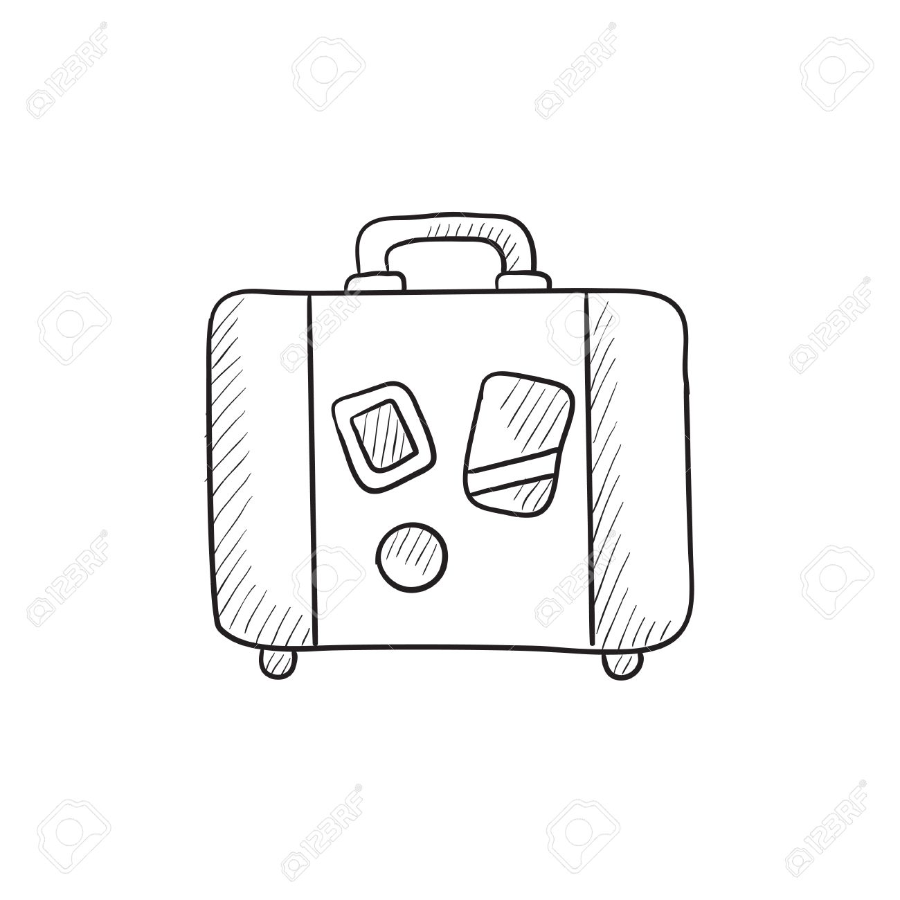 Suitcase vector sketch icon isolated on background. Hand drawn..