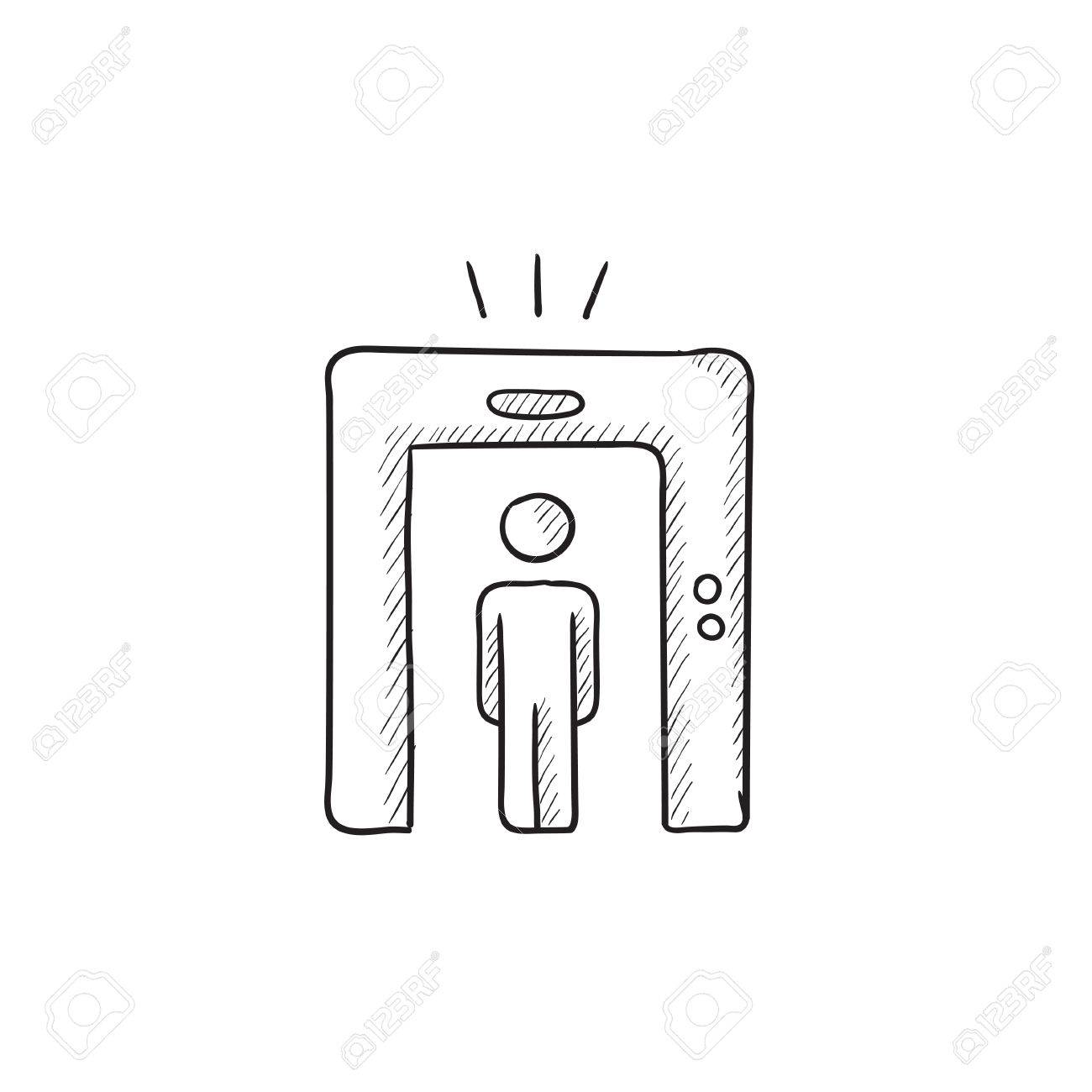 Man Going Through Metal Detector Gate Vector Sketch Icon Isolated