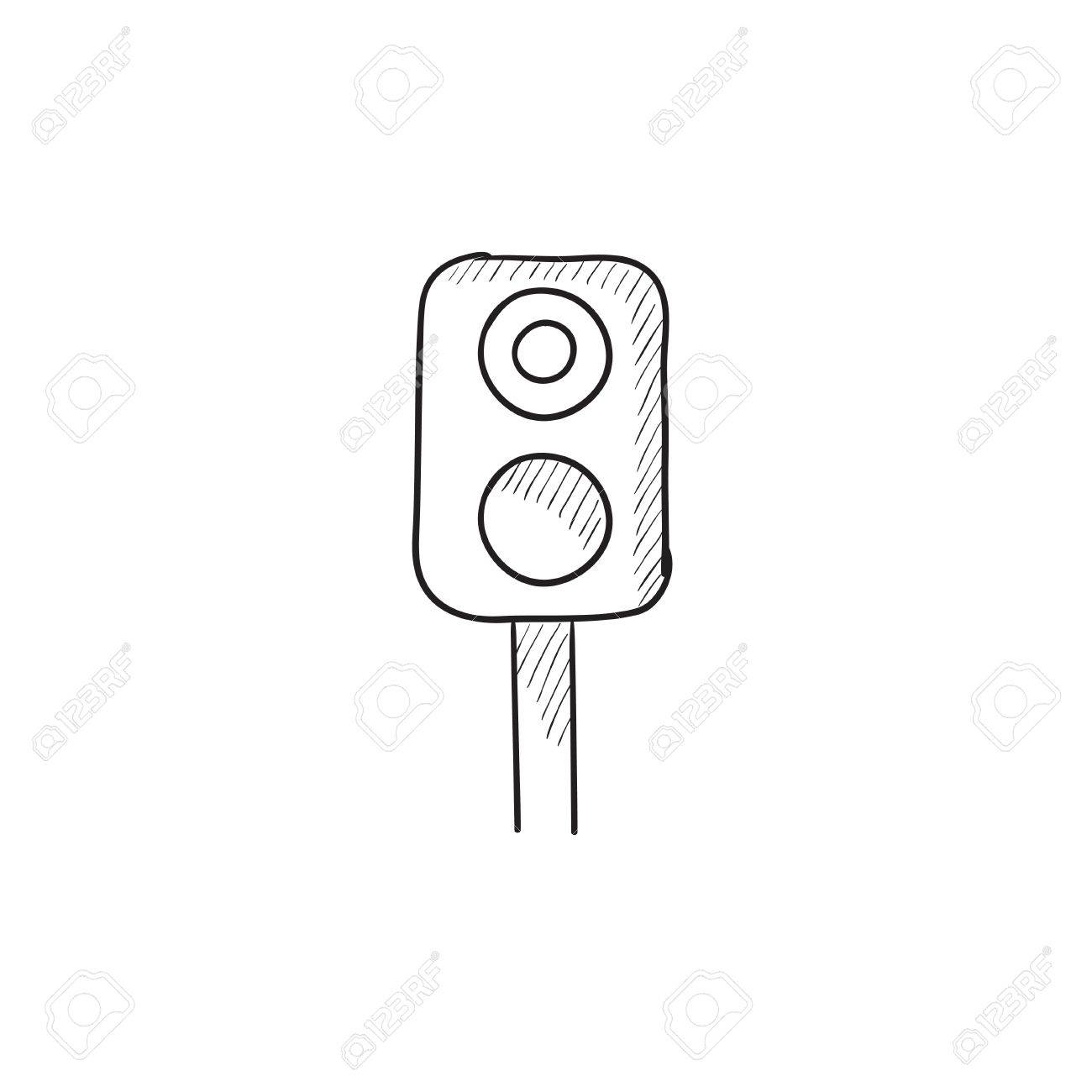 Railway Traffic Light Vector Sketch Icon Isolated On Background ... for Traffic Light Sketch  58lpg
