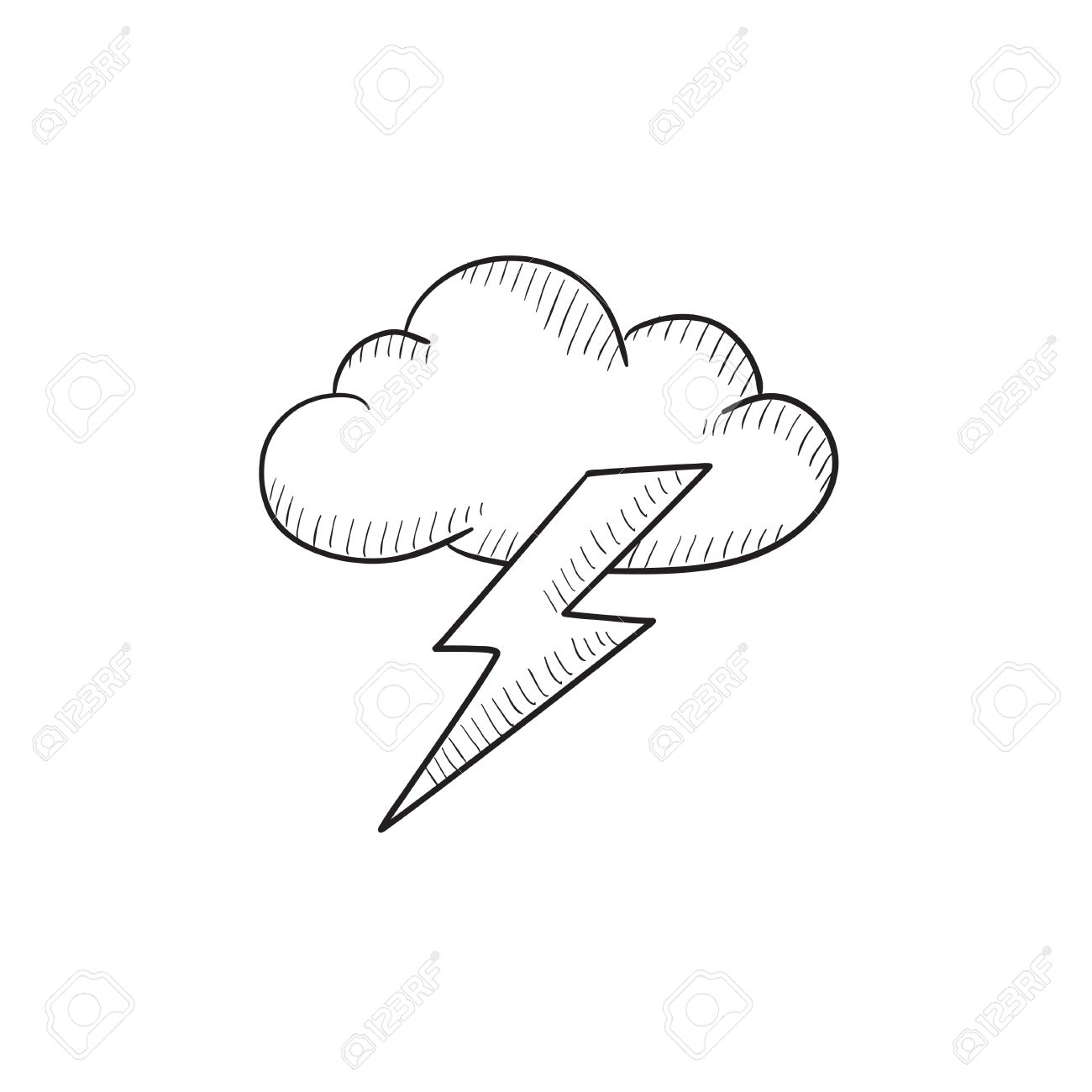 Cloud And Lightning Bolt Vector Sketch Icon Isolated On Background Royalty Free Cliparts Vectors And Stock Illustration Image 57823629