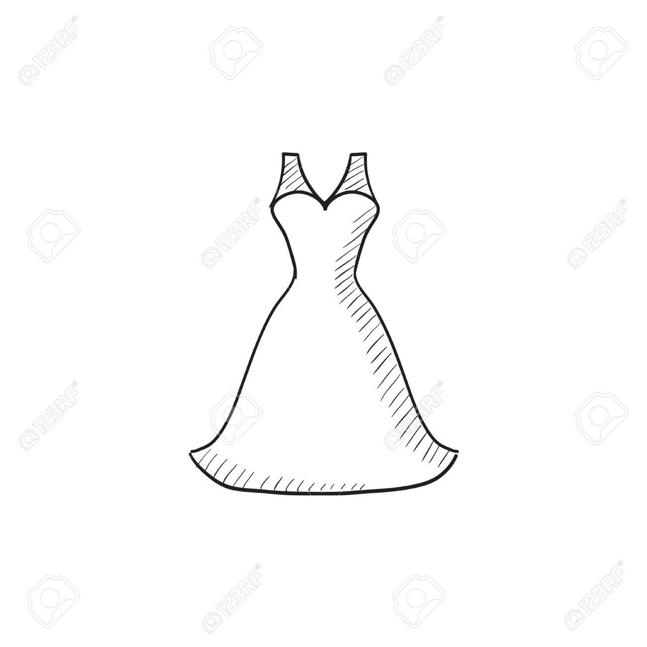 Wedding Dress Vector Sketch Icon Isolated On Background. Hand ...