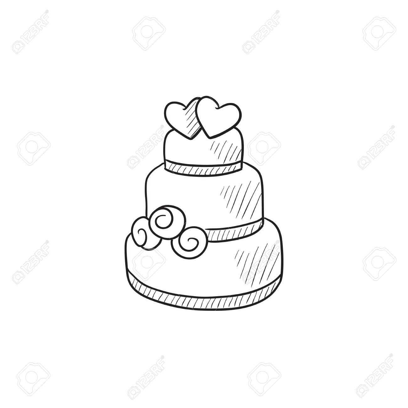 Wedding Cake Vector Sketch Icon Isolated On Background Hand