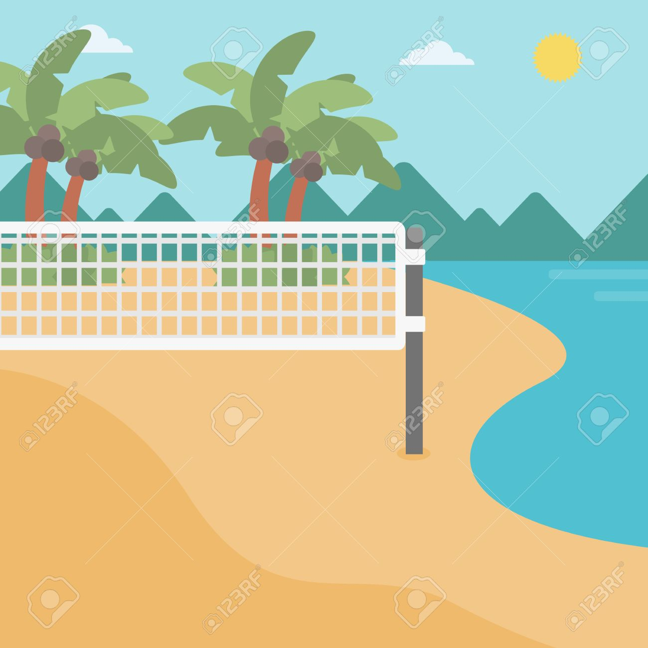 Background Of Beach Volleyball Court At The Seashore Volleyball Royalty Free Cliparts Vectors And Stock Illustration Image 57911805