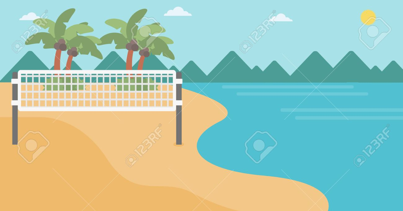 Background Of Beach Volleyball Court At The Seashore Volleyball Royalty Free Cliparts Vectors And Stock Illustration Image 57911807
