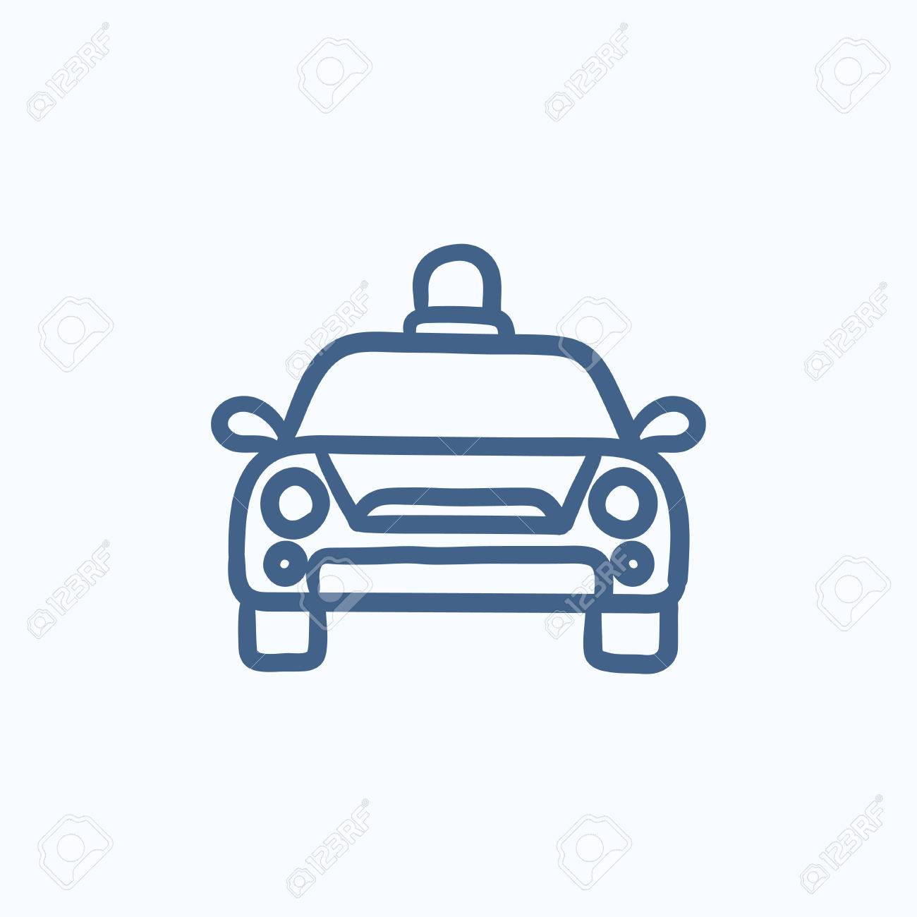 Police Car Website >> Police Car Vector Sketch Icon Isolated On Background Hand Drawn