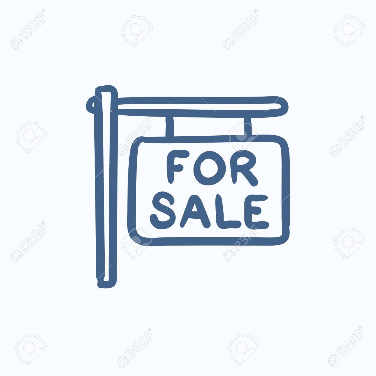 For sale placard vector sketch icon isolated on background. Hand drawn For sale placard icon. For sale placard sketch icon for infographic, website or app. - 58159018