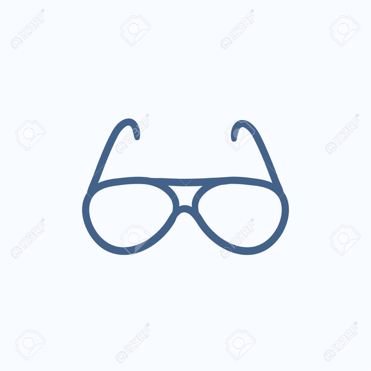 Banque d images - Lunettes de vue vectoriel icône de croquis isolé sur  fond. Icône de lunettes dessinés à la main. Icône de croquis de lunettes  pour ... bc006322f405