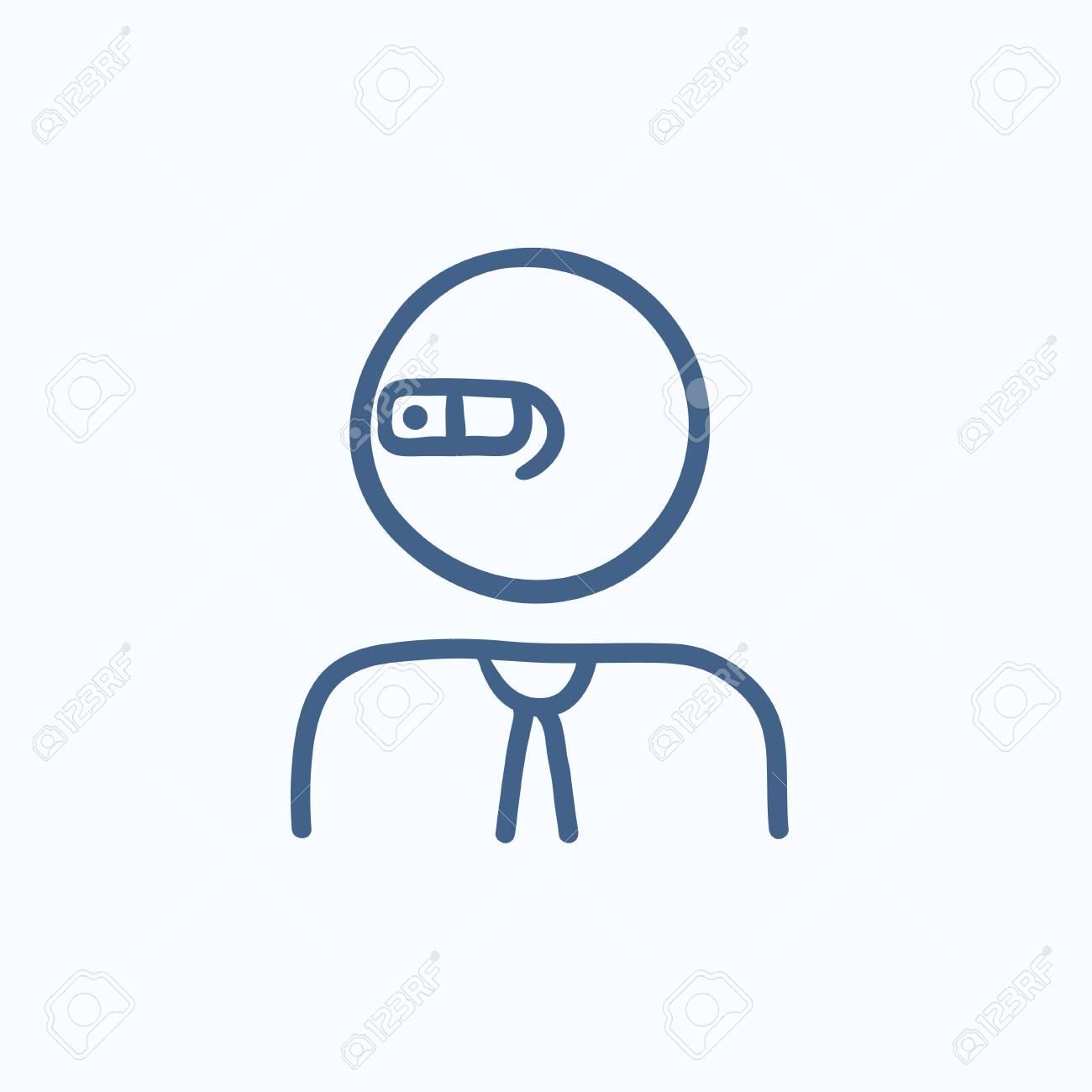 grande vendita 4983d 44de1 L'uomo in occhiali a realtà aumentata icona di schizzo vettoriale isolato  su sfondo. Uomo disegnato a mano nell'icona di occhiali di realtà  aumentata. ...
