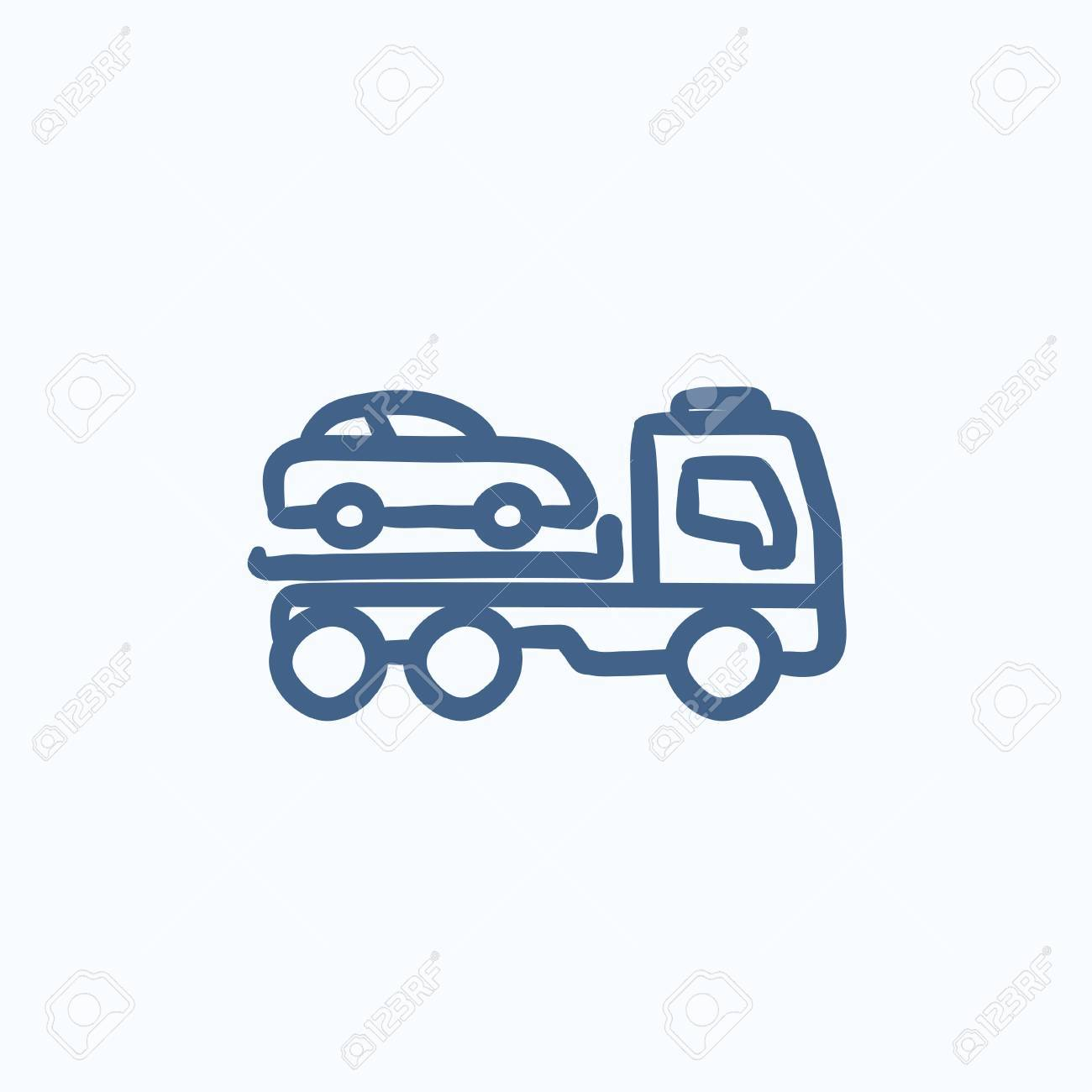 Car Towing Truck Vector Sketch Icon Isolated On Background. Hand ...