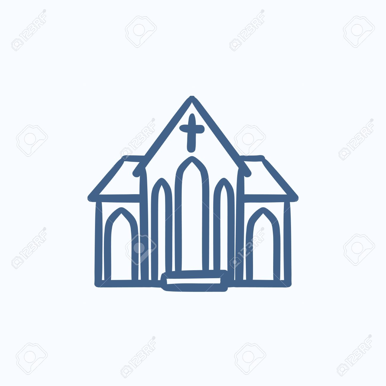 Church Vector Sketch Icon Isolated On Background. Hand Drawn ...