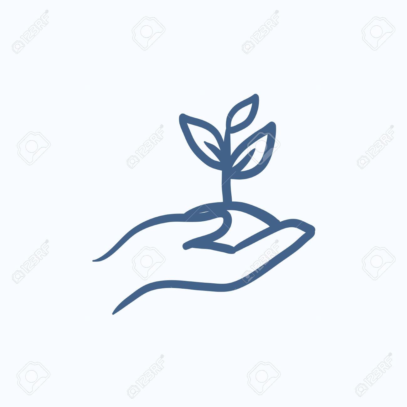 Hande Halten Samling Im Boden Vektor Skizze Symbol Isoliert Auf Den