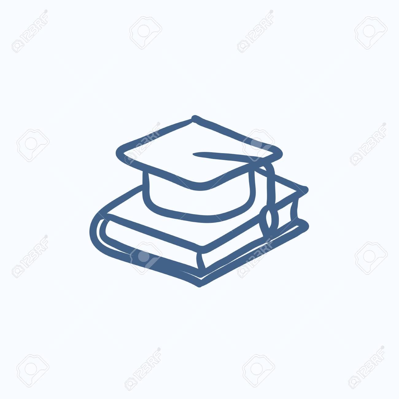 Graduación De La Tapa Que Pone En Dibujo Icono De Vector Del Libro