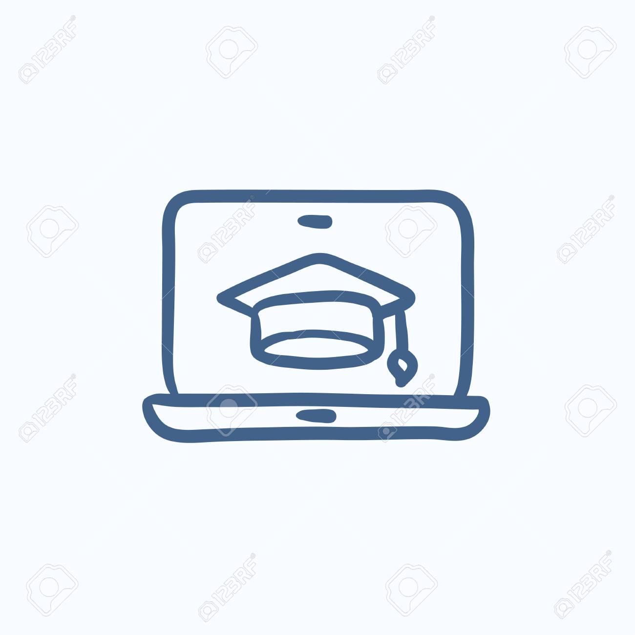 Ordenador Portátil Con Tapa De Graduación En Icono De Dibujo