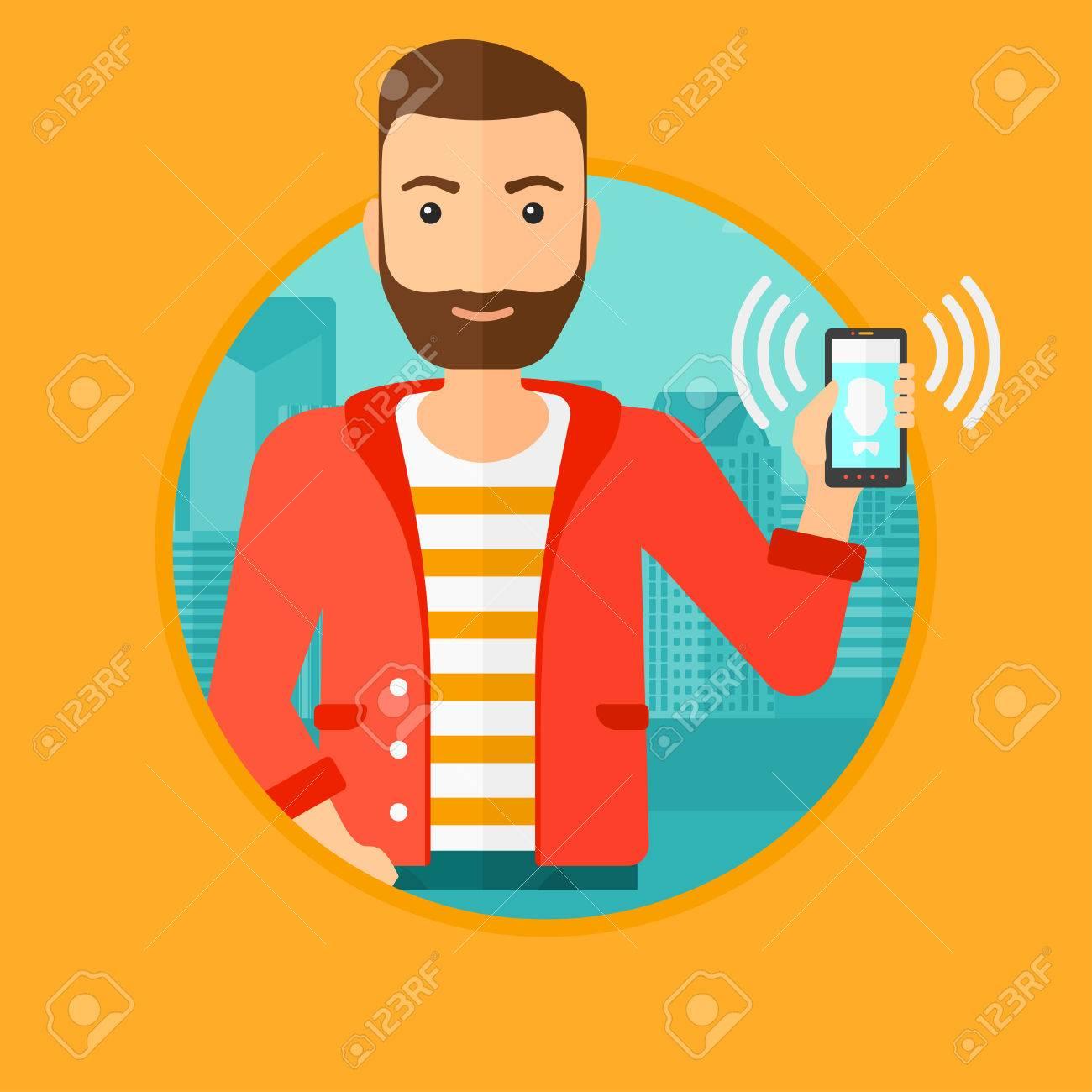 Vettoriale Un Uomo Di Hipster Azienda Telefono Cellulare Suonare