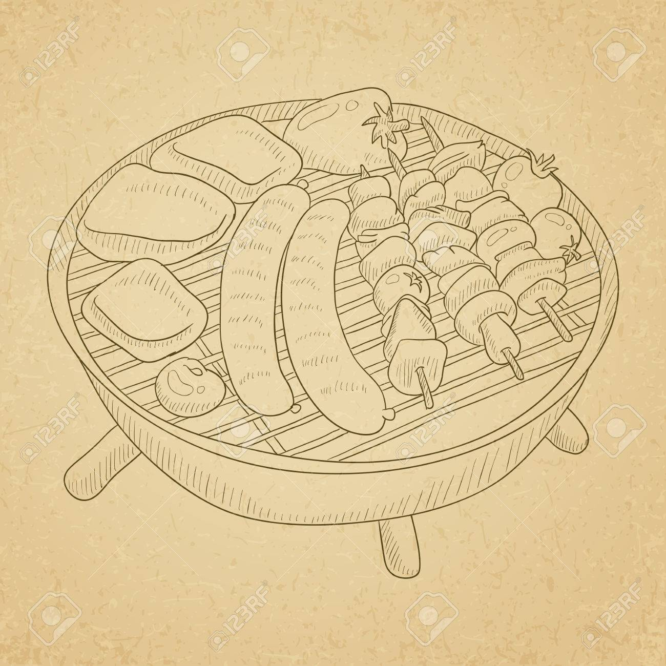 各種おいしい焼き肉バーベキュー グリッド上の野菜古い紙ヴィンテージ