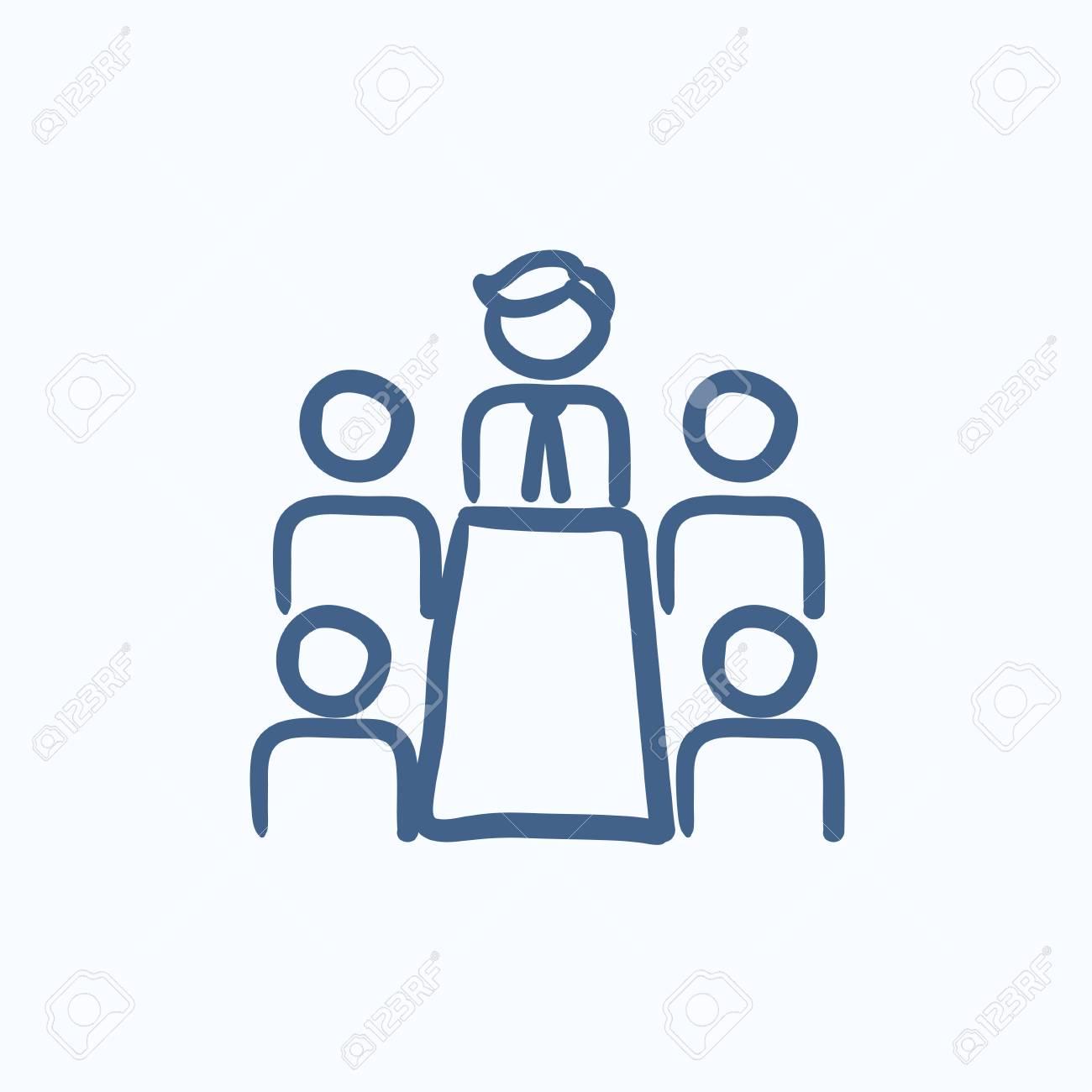 Reunión De Negocios En El Icono De Dibujo Vectorial De Oficina