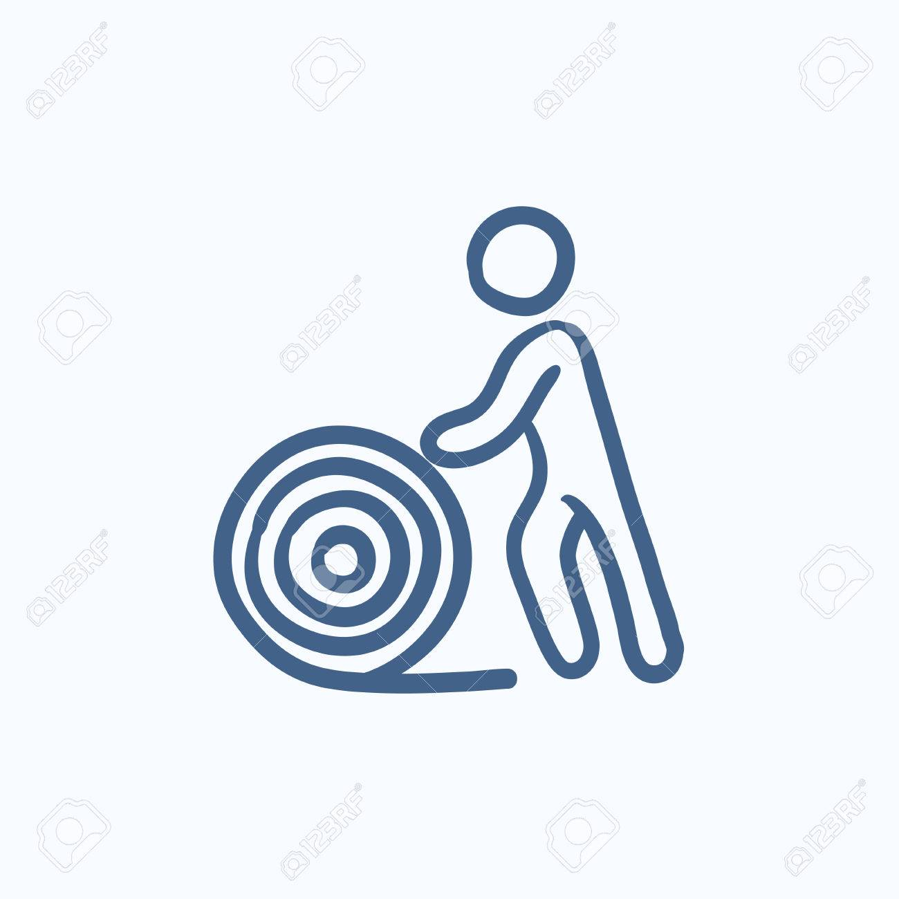 Man With Wire Spool Vector Sketch Icon Isolated On Background ...