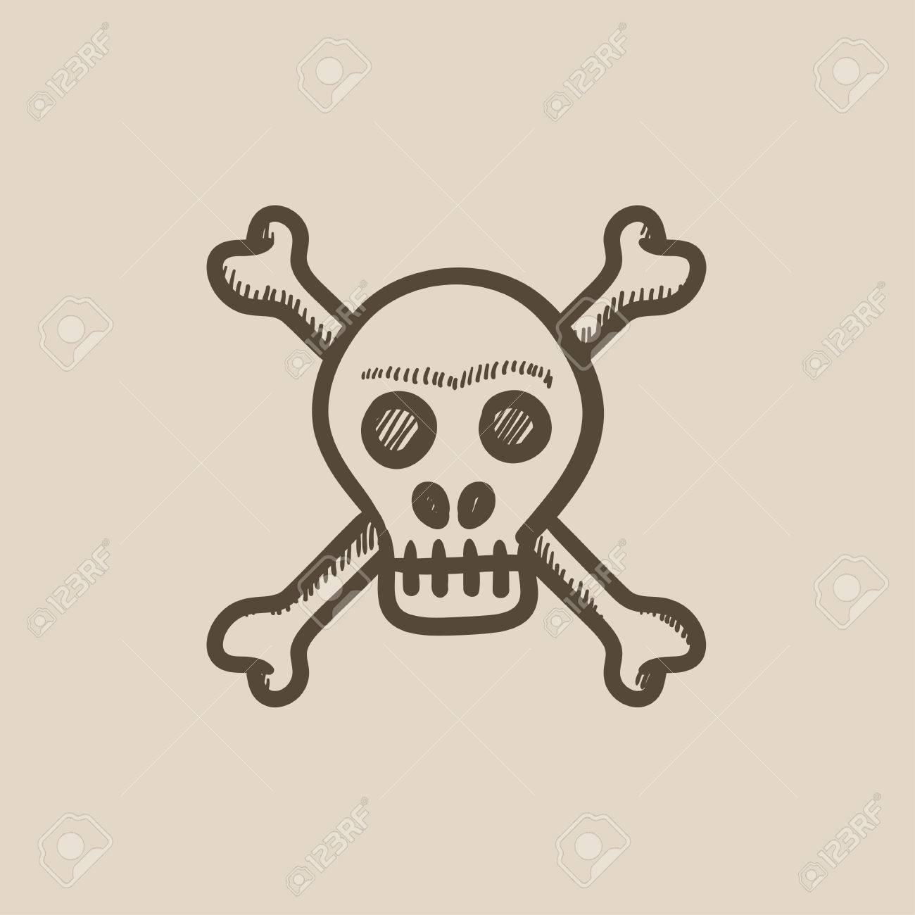 Schädel Und Cross-Knochen-Vektor-Skizze Symbol Auf Hintergrund ...