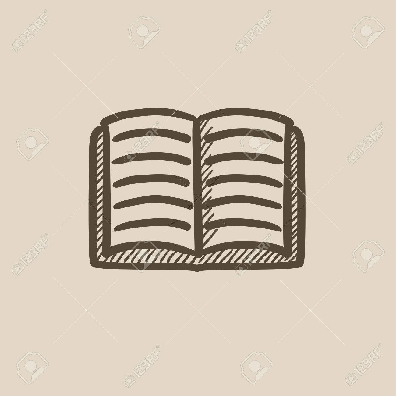 Open book vector sketch icon isolated on background  Hand drawn